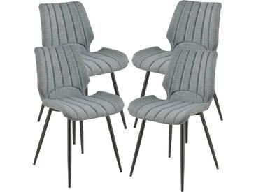 [en.casa] 4x Stühle Dunkelgrau Gepolstert mit Textilbezug Lehnstuhl Esszimmer-Stuhl Polsterstuhl 4er Set Lounge Set
