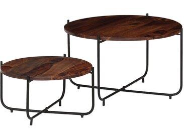 vidaXL Couchtisch-Set 2-tlg. Sheesham-Holz Massiv 60 x 35 cm
