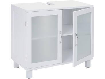 Waschbeckenunterschrank HWC-B42, Badschrank mit Staufach, 60x65x33cm weiß