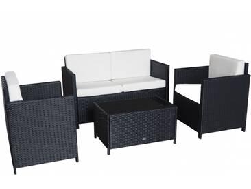 Cannes II Gartenmöbel Set in schwarz Lounge Möbel