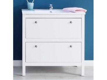 Waschbeckenunterschrank Waschtischunterschrank mit Waschbecken Ole Weiß 81x82 cm