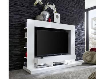 TrendTeam Mediawand B/H/T: 170 / 124 / 46 cm - Weiß Nachbildung - Front Weiß Glanz - TTX05