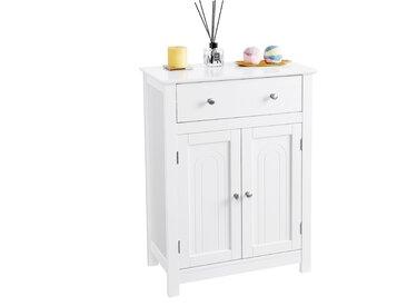VASAGLE Badschrank weiß aus Holz 60 x 80 x 30cm mit Schublade und verstellbarem Einlegeboden Badezimmerschrank im Landhausstil BBC61WT