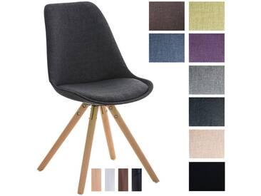 CLP Retrostuhl PEGLEG mit Stoffbezug I Gepolsterter Schalenstuhl mit Holzbeinen und einer Sitzhöhe 46 cm schwarz Holzgestell natura