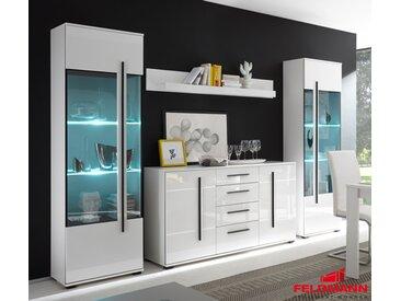 Wohnzimmer Set Cantara mit Standvitrinen & LED-Beleuchtung weiß 270cm 4-teilig