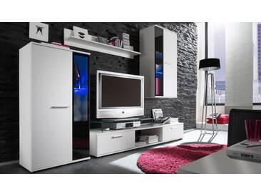 Wohnwand Salsa, Design Mediawand, Modernes Wohnzimmer-Set, Stilvoll Anbauwand, Vitrinen mit Glasböden (ohne Beleuchtung, Weiß)