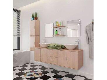 Meizhirui 11-tlg. Badmöbel-Set mit Waschbecken und Wasserhahn Beige