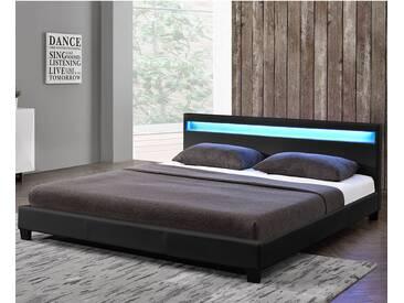 ArtLife Polsterbett Paris 140 x 200 cm Einzelbett in schwarz