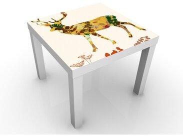 Kindertisch Floral Deer - Tisch Weiß, Tischfarbe:schwarz, Größe:55 x 55 x 45cm