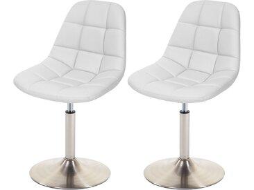 2x Esszimmerstuhl HWC-A60, Stuhl Drehstuhl  Kunstleder weiß, Fuß gebürstet