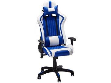 Slypnos Gaming Stuhl Kunstleder Bürostuhl Racing Stuhl Drehstuhl Computer Gaming Chair,  Sessel, hohe Rückenlehne, gerichtete, verstellbare und ergonomische Rückenlehne, Blau und Weiß