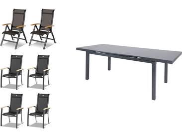 HARTMAN Alice Esstischgarnitur, xerix, Alu/Textilene, Tisch 180/240x100cm, 4 Stapel-, 2 Multipositionssessel