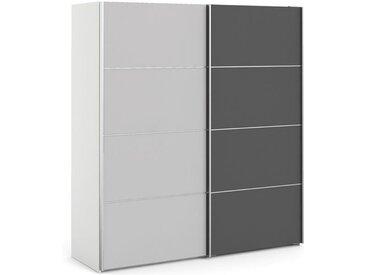 Verona Schiebetürenschrank 182 x 202 cm Weiß / Grau, Schließdämpfung:mit Schließdämpfung, LED-Beleuchtung:ohne Beleuchtung