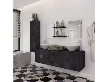 Reasel-de 11-tlg. Badmöbel-Set mit Waschbecken und Wasserhahn Schwarz