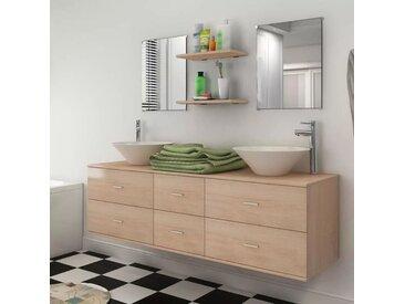 Reasel-de 9-tlg. Badmöbel-Set mit Waschbecken und Wasserhahn Beige
