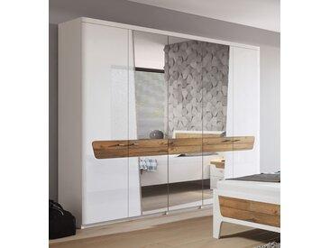 Kleiderschrank Drehtürenschrank Schrank laminat weiß / weiß glanz 180cm