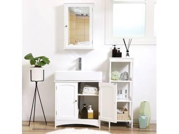 Waschtischunterschrank 60cm weiß Holz mit 2 Türen Unterschrank Waschbeckenunterschrank Badschrank Badezimmerschrank SONGMICS BBC01WT