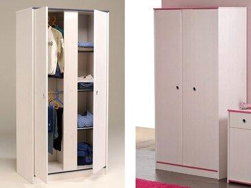 Kleiderschrank Snoopy 11, 90x182x51cm 2-türig weiß / pink + blau