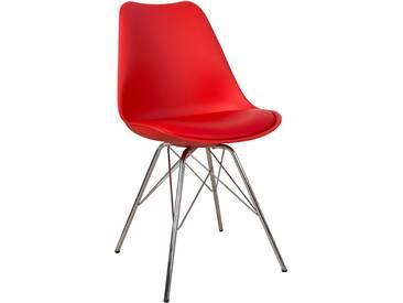 Stylischer Retro Stuhl SCANDINAVIA MEISTERSTÜCK rot Gestell aus Metall Esszimmerstuhl Küchenstuhl