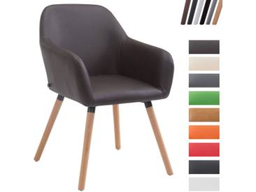 CLP Esszimmerstuhl ACHAT V2 mit Kunstlederbezug, Polsterstuhl mit Armlehne, Sitzfläche gepolstert, mit Bodenschonern, max. Belastbarkeit 150 kg, Braun Gestellfarbe: Natura