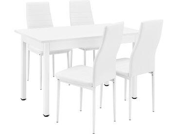 [en.casa]® Esstisch mit 4 Stühlen weiß 120x60cm Küchentisch Esszimmertisch