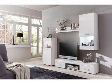 Wilmes Wohnwand Easy mit RGB-Unterbauleuchte - Farbe: Korpus Weiß Nachbildung und Front in Weiß Nachbildung - Maße: 210 cm x 160 cm x 33 cm; 70021-75 0 75