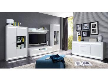 Wohnzimmer Livorno 30 Hochglanz weiß 5-teilig Wohnwand LED-Beleuchtung, Beleuchtung:ohne Glasbodenbeleuchtung