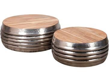 SalesFever® Couchtisch 2er-Set rund aus Holz und Stahl Dorian