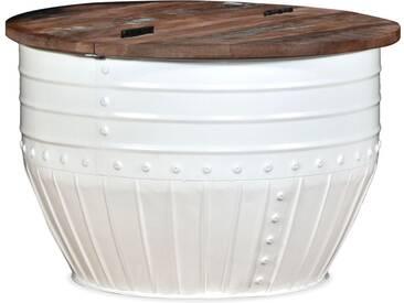 vidaXL Couchtisch aus massivem Recyclingholz Weiß Trommelform