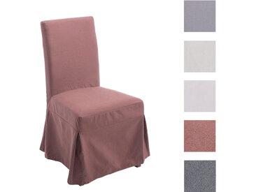 CLP Esszimmerstuhl HUSSEL mit abnehmbarer Husse | Polsterstuhl mit Eichenholzgestell | Lehnstuhl inklusive Stuhlhusse | In verschiedenen Farben erhältlich braun