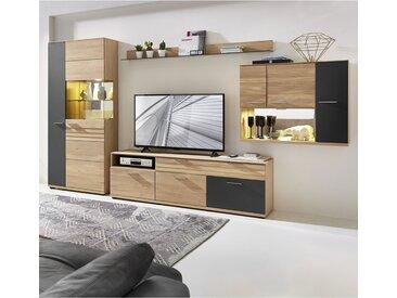 TV-Wohnwand Wildeiche massiv geölt mit Lack-Laminat graphit AACHEN-55  inkl. LED-Beleuchtung, B/H/T ca. 352/202/48 cm