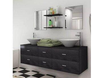 Reasel-de 9-tlg. Badmöbel-Set mit Waschbecken und Wasserhahn Schwarz