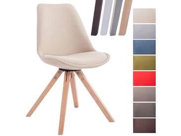 CLP Design Retro-Stuhl TOULOUSE Square mit Stoffbezug und hochwertigem Sitzpolster I Lehnstuhl mit stabilem Holzgestell I Sitzhöhe 48 cm creme natura (eiche)