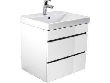 Waschtisch mit Unterschrank in Hochglanz weiß KASSANDRA-02 60cm Waschbecken 60 x 58,4 x 48 cm