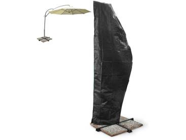 ECD Germany Abdeckung für Gartenmöbel - Gartenschirm Schutzhülle in schwarz - wetterfest/ reißfest - 500 cm Ø - aus atmungsaktivem Polyethylengewebe - für Garten, Balkon oder Camping