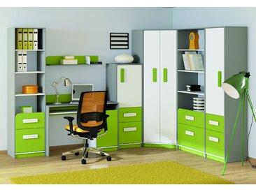 Kinderzimmer - Schrank Renton 05, Farbe: Platingrau / Weiß / Grün - Abmessungen: 199 x 50 x 40 cm (H x B x T), mit 1 Tür, 2 Schubladen und 4 Fächern