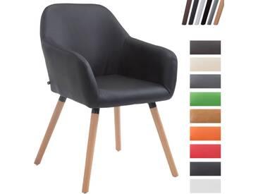 CLP Esszimmerstuhl ACHAT V2 mit Kunstlederbezug, Polsterstuhl mit Armlehne, Sitzfläche gepolstert, mit Bodenschonern, max. Belastbarkeit 150 kg, Schwarz Gestellfarbe: Natura