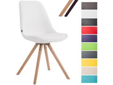 CLP Besucherstuhl LAVAL mit hochwertiger Polsterung und Kunstlederbezug | Esszimmerstuhl mit rundem Holzgestell und bequemer Sitzschale Weiß Natura