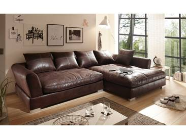 Big Sofa Vintage Kunstleder Leder Ecksofa Dunkelbraun RECHTS Bigsofa verschiedene Farben