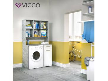 VICCO Waschmaschinenschrank Kombination Badregal Badschrank beton 185x103x60cm