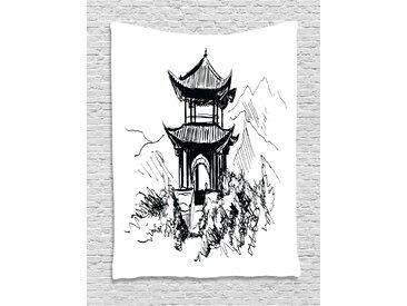 ABAKUHAUS Antikes China Wandteppich, Skizzen-Pavillon, Wohnzimmer Schlafzimmer Heim Seidiges Satin Wandteppich, 150 x 200 cm, Weiß Schwarz