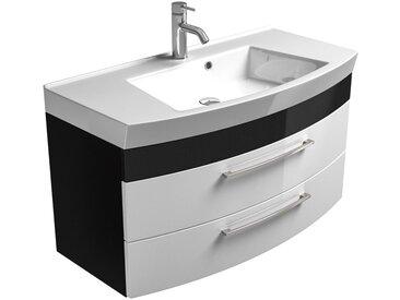 Badezimmer Waschtisch mit Unterschrank RIMAO-100 Hochglanz weiß, anthrazit, 100cm Waschbecken, B x H x T: ca. 100 x 57 x 50 cm