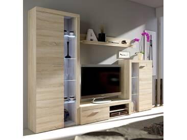 Mirjan24 Wohnwand Farso, Design Wohnzimmer-Set, Schrankwand, Mediawand, Modernes Anbauwand (ohne Beleuchtung, Sonoma Eiche)