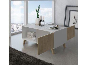 Home Innovation - Couchtisch mit Türen, Esszimmer, Modell WIND, Strukturfarbe Weiß, Türfarbe Puccini, Maße 92x50x45cm hoch.