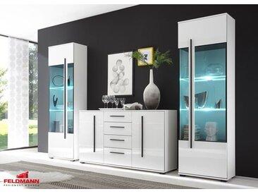 Wohnzimmer Set Cantara mit Standvitrinen & LED-Beleuchtung weiß 270cm 3-teilig