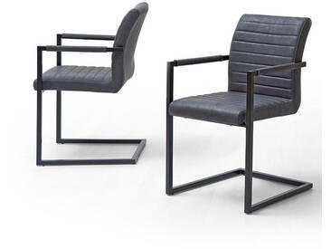 MCA Furniture Freischwinger Kian B (4er Set) Kian, Braun/Schwarz, 54,00cm x 60,00cm x 87,00cm, Kunstleder/Metall, KBA599GX