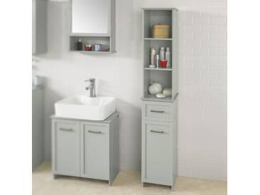SoBuy BZR09-HG Badezimmer-Hochschrank Badregal Badschrank Badmöbel mit 3 offenen Fächern, 1 Schublade und 1 Tür hellgrau BHT ca: 30x164x29cm