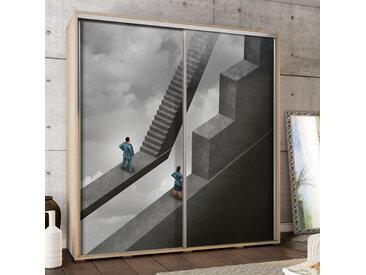 Selsey - Kleiderschrank ABSTRAKTE TREPPE 2-türig mit Schiebetüren und Mann und Frau Motiv, Korpus in Sonoma Eiche, 205 cm