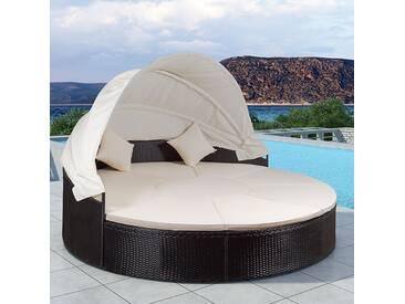 ArtLife Polyrattan Gartenmöbel Sonneninsel Tobago schwarz, cremefarbene Bezüge & LED