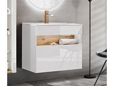 Waschtisch Waschbeckenunterschrank Weiss Eiche Wotan 80cm Hochglanz Weiß LED